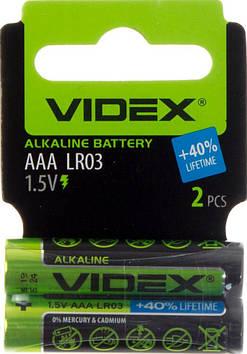 Батарейки Videx LR-03/мініблістер 2шт (30)(360)