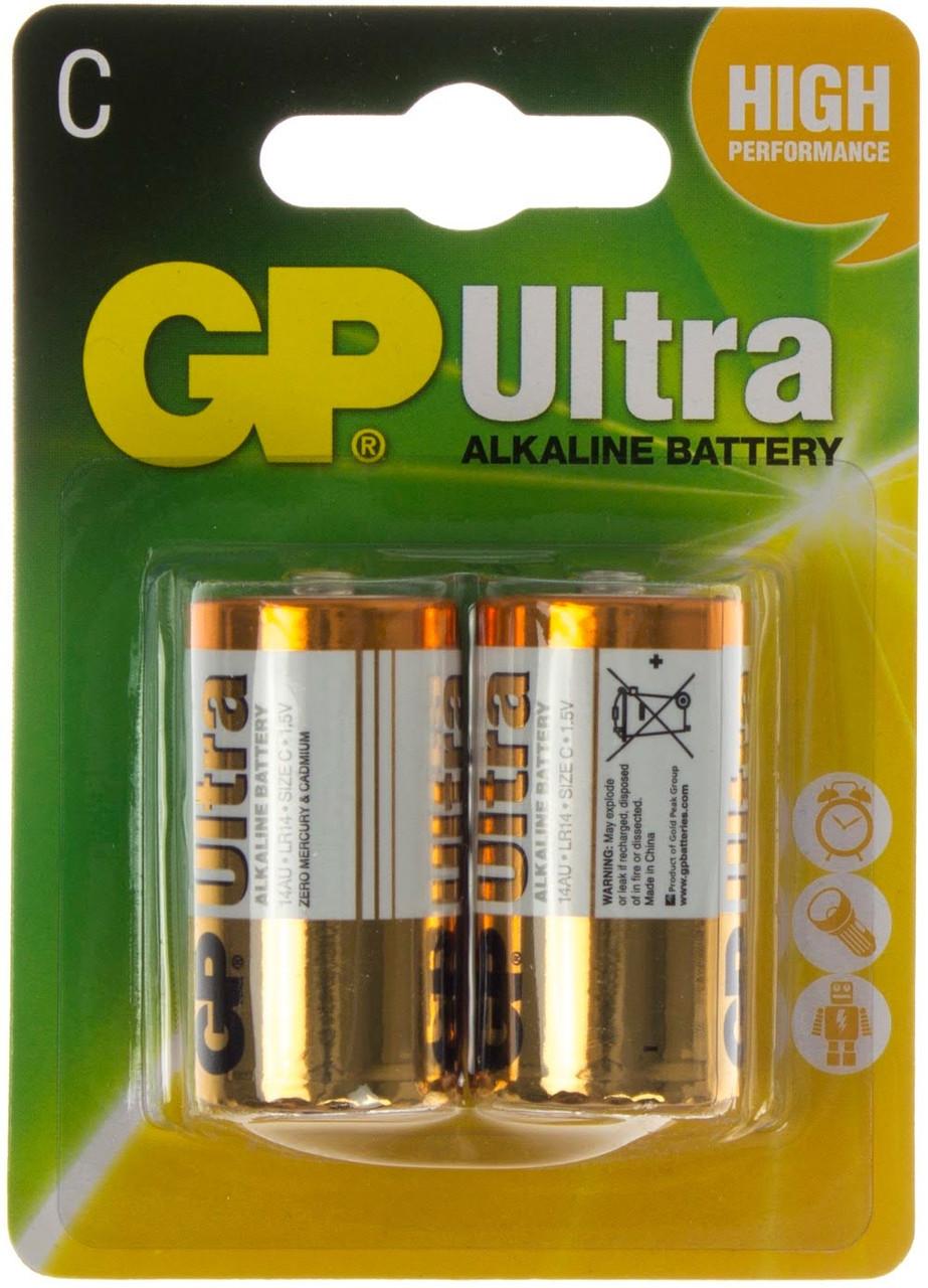 Батарейки GP Ultra 14AU-U2 LR-14/блістер 2шт (10)(80)