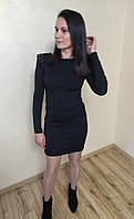 Женское платье облегающее с молнией на спине черное с длинным рукавом 42р.