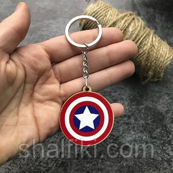 """""""Капитан Америка щит"""" брелок деревянный двухсторонний с уф-печать"""