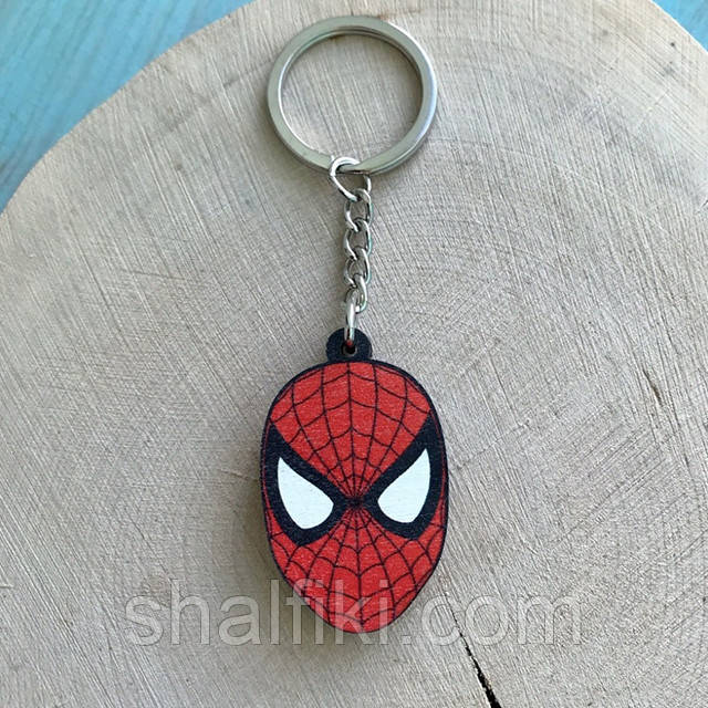 """""""Человек паук маска"""" брелок деревянный двухсторонний с уф-печать"""