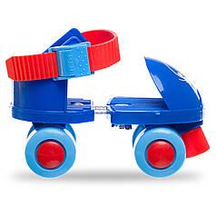 Роликовые коньки раздвижные (квады) размер 25-30 красный, синий PZ-K01