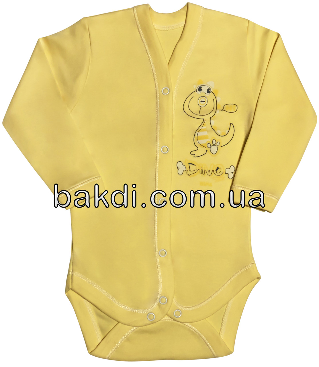 Детское боди рост 62 2-3 мес трикотажное интерлок жёлтое на мальчика девочку бодик с длинным рукавом для новорожденных малышей Ж334
