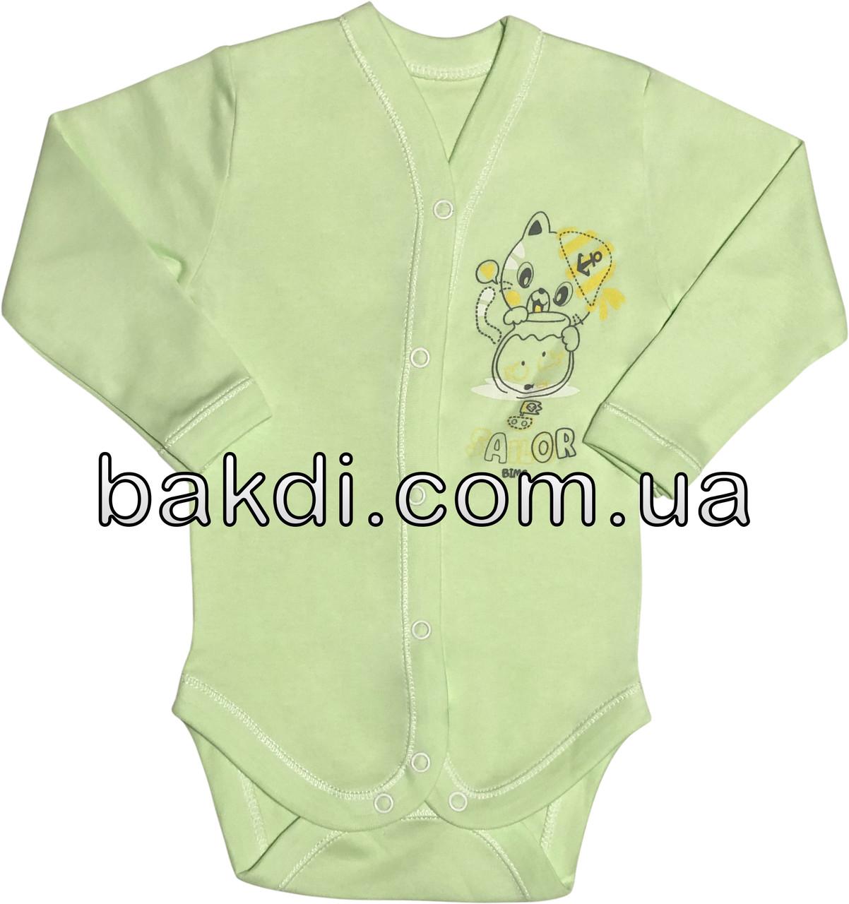 Детское боди для новорожденных рост 56 0-2 мес на мальчика девочку трикотажное с длинным рукавом салатовое