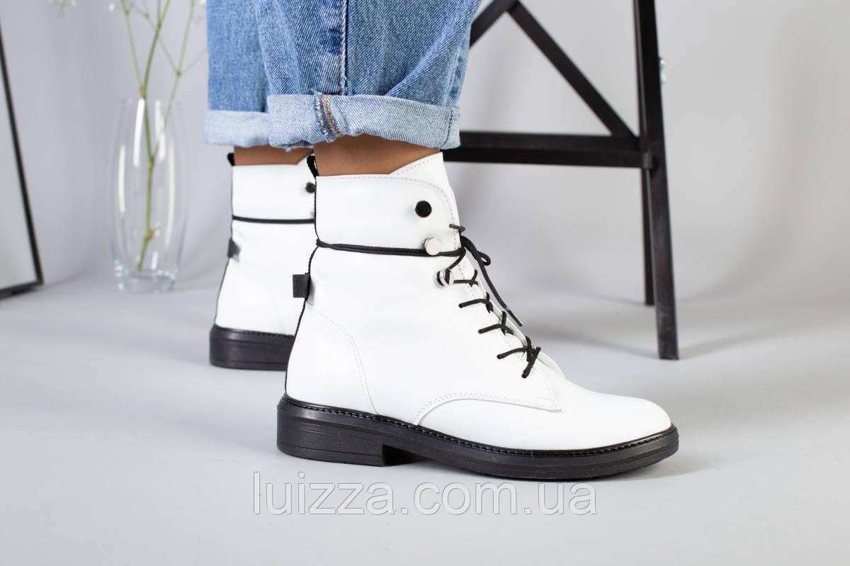 Женские демисезонные белые кожаные ботинки