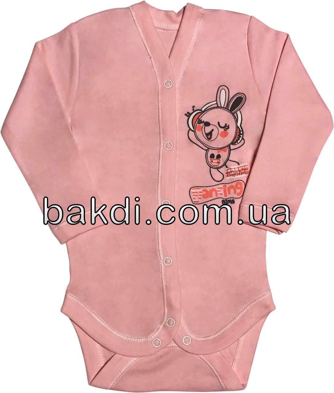 Детское боди на девочку рост 56 0-2 мес для новорожденных трикотажное с длинным рукавом интерлок розовое