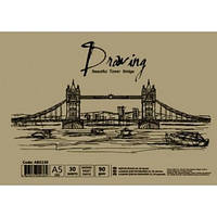 Альбом для малювання на спір., 30 арк. 90 г/м A5, папір крафт,