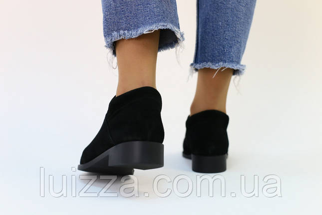 Женские замшевые черные туфли, фото 2