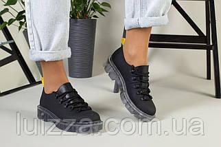 Женские туфли на шнурках, черная матовая кожа, фото 2