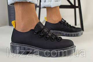 Женские туфли на шнурках, черная матовая кожа, фото 3