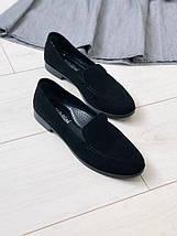 Женские туфли черные замшевые без каблука, фото 2