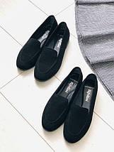 Женские туфли черные замшевые без каблука, фото 3