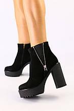 Женские черные ботинки из велюра