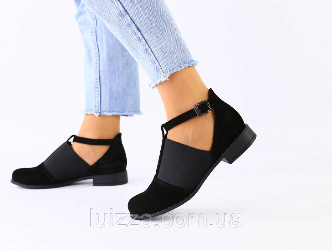 Женские черные замшевые закрытые туфли с резинкой