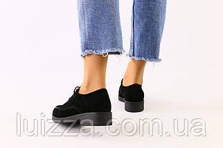 Женские черные замшевые туфли на шнурках, фото 3