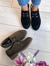 Женские черные замшевые туфли на шнурках, фото 2