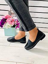 Женские черные кожаные туфли с блестящей резинкой, фото 2