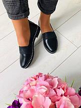 Женские черные кожаные туфли с блестящей резинкой, фото 3
