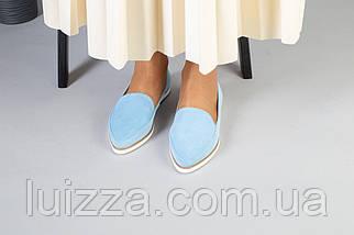 Замшевые балетки голубого цвета, фото 2