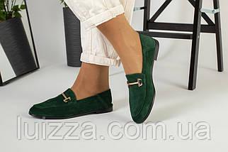Замшевые закрытые туфли на низком ходу, изумрудные, фото 3