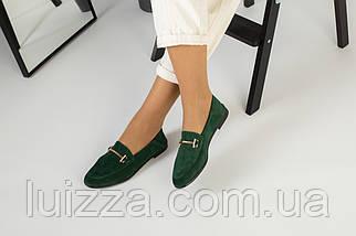Замшевые закрытые туфли на низком ходу, изумрудные, фото 2
