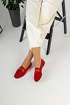 Замшевые закрытые туфли на низком ходу, красные, фото 3