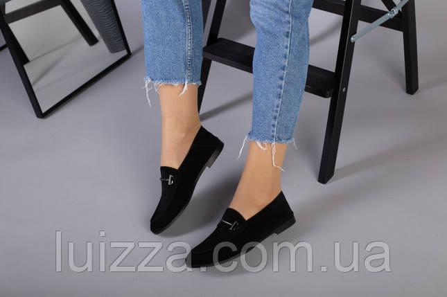 Замшевые закрытые туфли на низком ходу, черные, фото 2