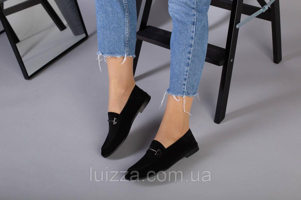 Замшевые закрытые туфли на низком ходу, черные
