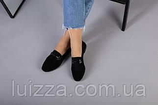 Замшевые закрытые туфли на низком ходу, черные, фото 3