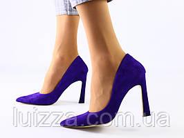 Лодочки женские велюровые фиолетовые