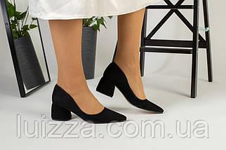 Лодочки женские замшевые черные, фото 3