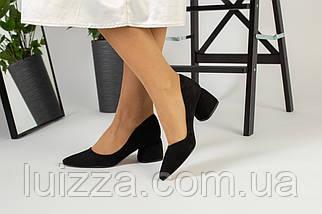 Лодочки женские замшевые черные, фото 2