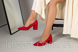 Туфли женские замшевые красные, каблук 6,5 см, фото 2