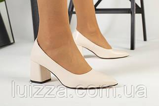Туфли женские кожаные молочного цвета на черной подошве, фото 2