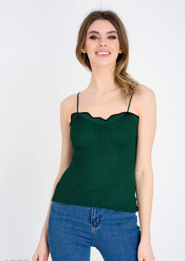 Зеленая трикотажная майка в рубчик на тонких бретельках M
