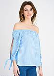 Голубая блузка с открытыми плечами и длинными рукавами S, фото 2