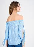 Голубая блузка с открытыми плечами и длинными рукавами S, фото 3