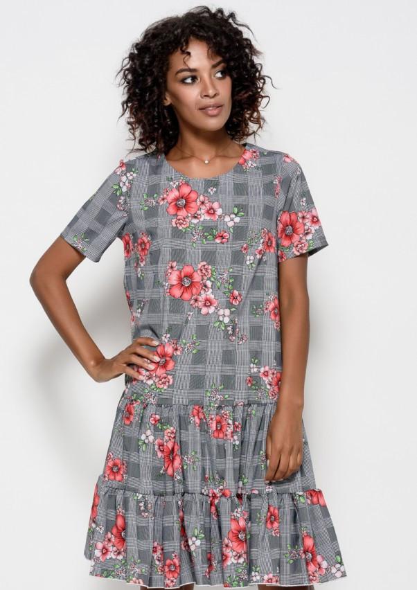 Серое клетчатое платье из софта с цветочным принтом и воланами на подоле S