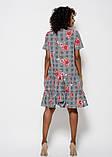 Серое клетчатое платье из софта с цветочным принтом и воланами на подоле S, фото 3