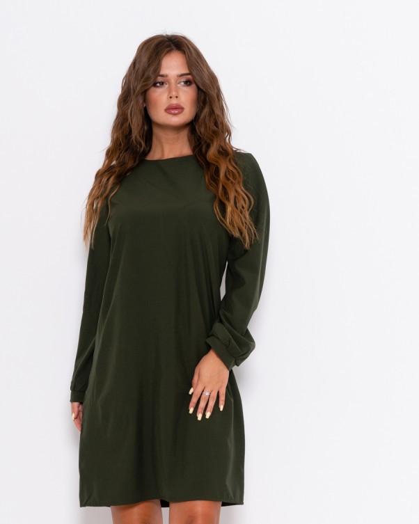 Прямое платье цвета хаки с длинными рукавами S