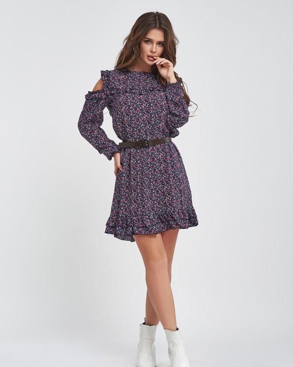 Короткое цветочное платье с вырезами на плечах L