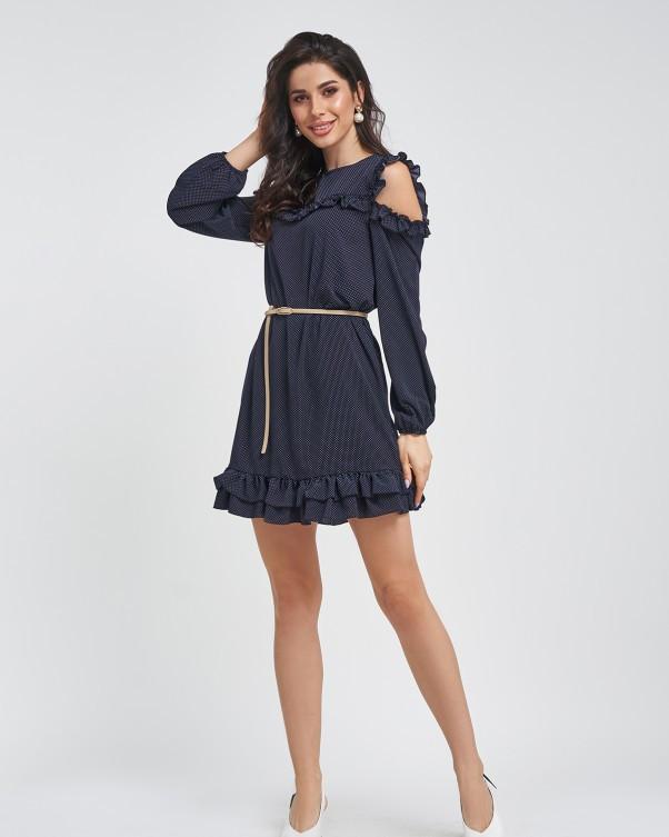 Темно-синее в горошек платье с рюшами (S M L XL) L