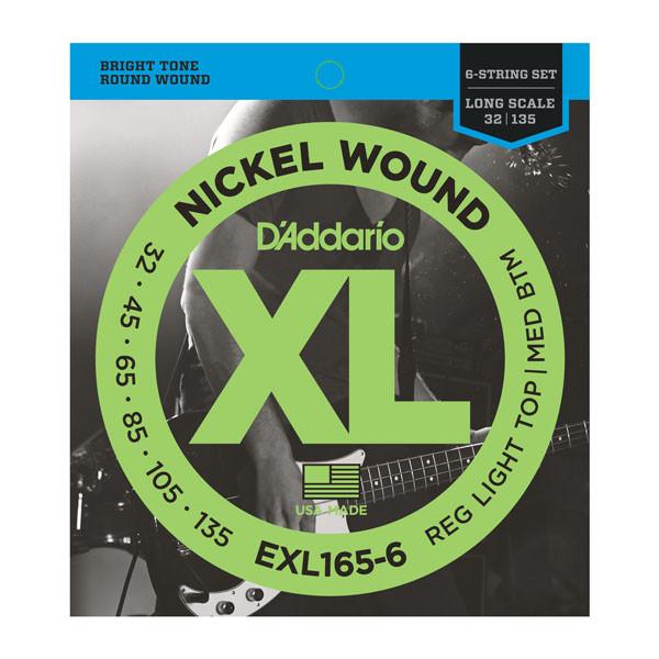 Струны D`ADDARIO EXL165-6 XL REG LIGHT TOP / MED BOTTOM 6 STRING 32-135