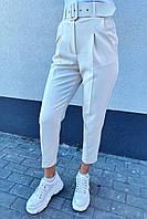 Трендовые брюки с высокой талией и поясом  PERRY - молочный цвет, XL (есть размеры), фото 1