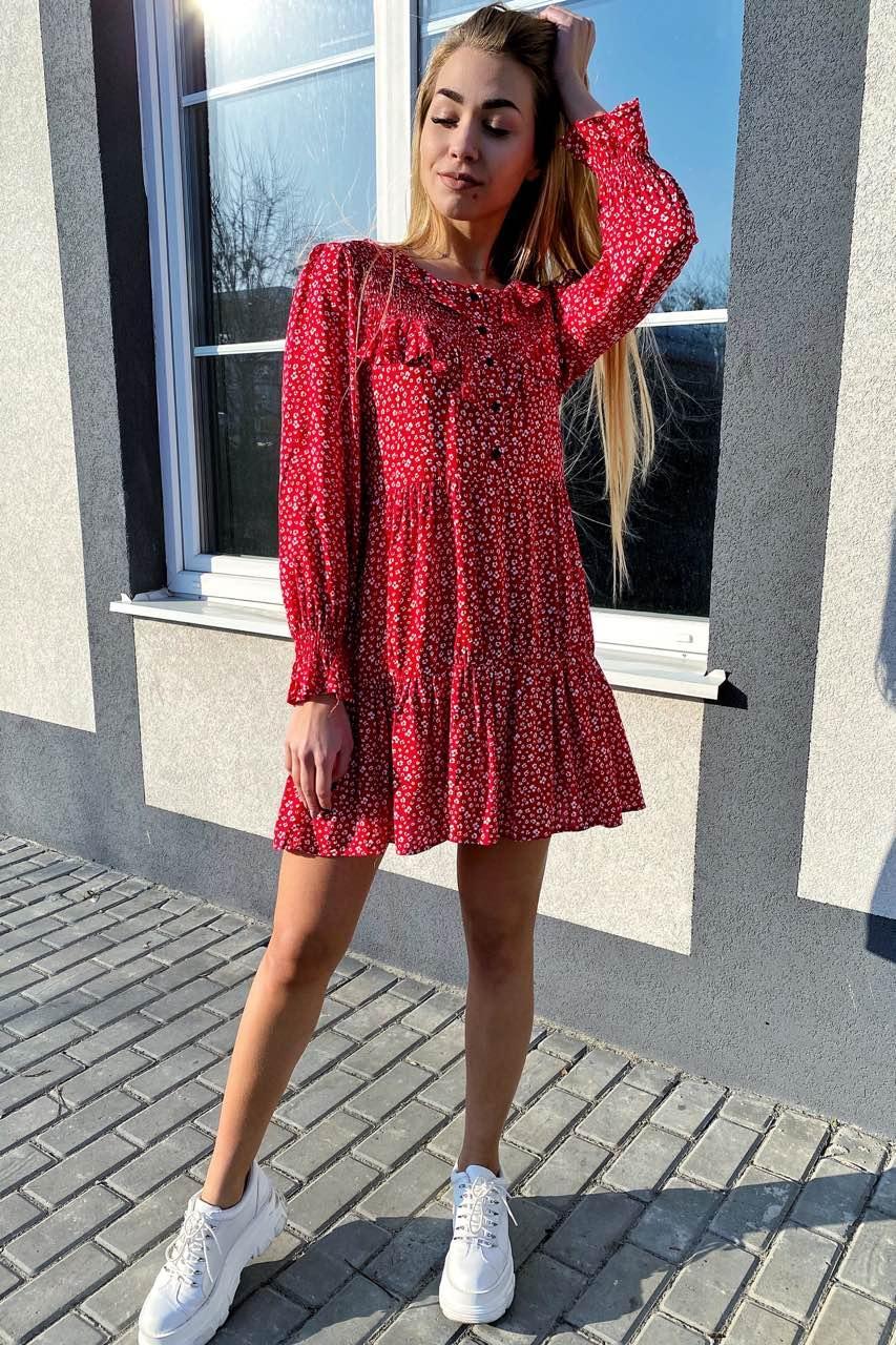 Стильное котоновое платье в мелкий принт с рюшами и пуговицами  VOOL Style - красный цвет, L (есть размеры)