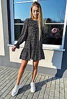 Стильное котоновое платье в мелкий принт с рюшами и пуговицами  VOOL Style - черный цвет, S (есть размеры), фото 1
