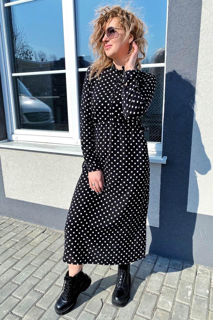 Платье миди в горох с поясом на завязках и карманами Pintore - черный цвет, 40р (есть размеры)
