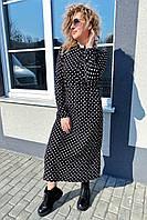 Платье миди в горох с поясом на завязках и карманами Pintore - черный цвет, 40р (есть размеры), фото 1