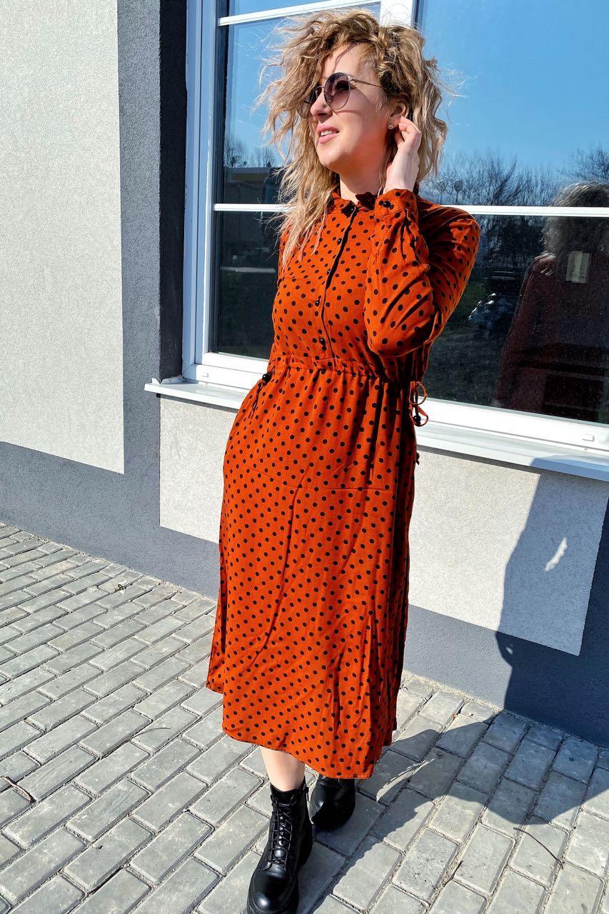 Платье миди в горох с поясом на завязках и карманами Pintore - терракотовый цвет, 42р (есть размеры)