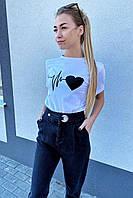 Популярная футболка с принтом сердца  TITUS - белый цвет, S (есть размеры), фото 1